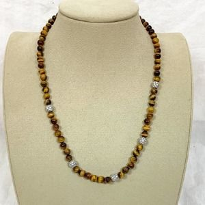Tigers eye and CZ necklace